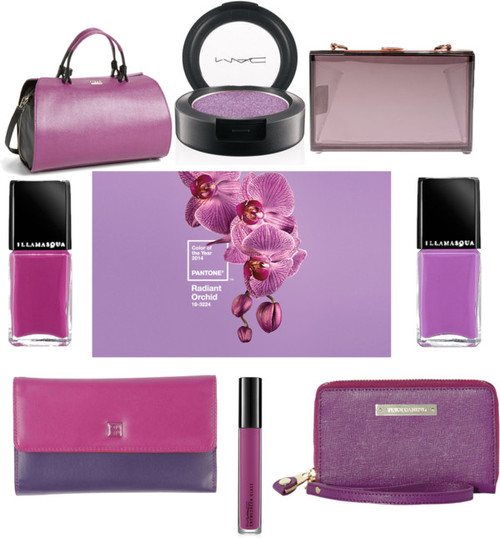 (Clockwise from top left) 1.  'Venus' Satchel  by Furla, $548 2.  MAC Pressed Pigment  in 'Amethyst', $21 3.  Clear Conscious Clutch  in 'Transparent Noir', $37 at Karmaloop 4.  Illamasqua Nail Varnish  in 'Jo' Mina', $24 5.  Vivi Indexer  by Vince Camuto, $78 6. MAC Tropical Taboo Cremesheen Glass  in 'Narcissus', $21 7.  DUDU Wallet  in 'Garnet', $93 8.  Illamasqua Nail Varnish  in 'Stance', $24