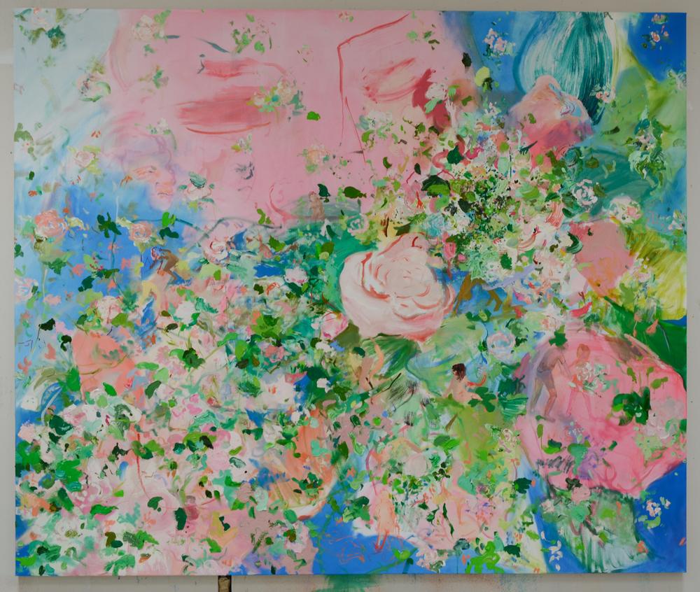 "76"" x 90"" oil on canvas, working title ""Airmail my Heartbreaker; Sending my love to Je-Ju"""