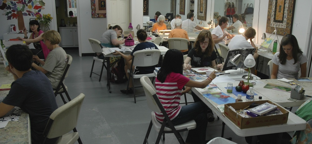 Adults young and old(er) enjoy a full painting and drawing class. Students can also use a standing easel.