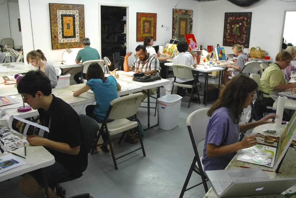 Another full painting and drawing class. Yes, everyone is focused on their work, but some jolly good camaraderie develops, too.