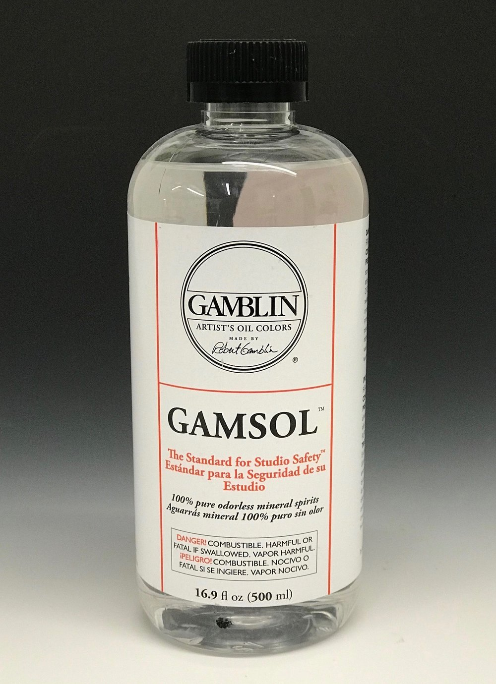 Thinner - To clean brushes we use Gamsol, a thinner similar to Turpentine or other odorless mineral spirits. To keep fumes to a minimum, Gamsol is the only thinner I allow in the studio.