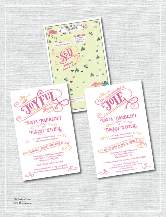 Multilingual wedding map