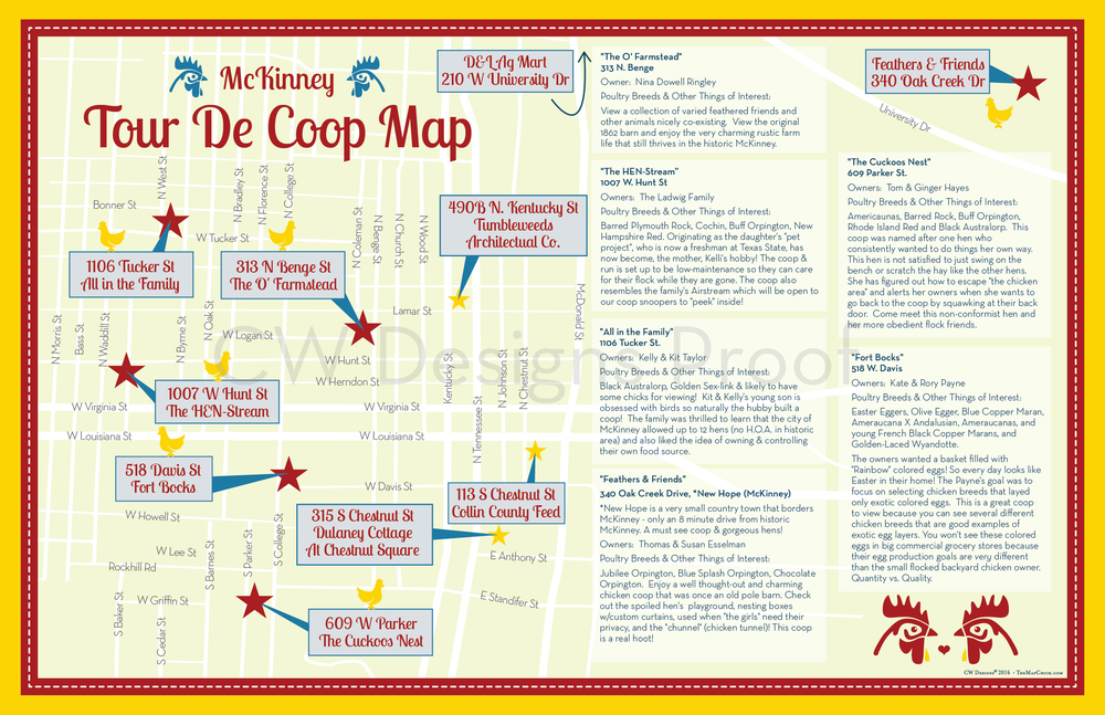 McKinney, Texas Tour de Coop Map Z-Fold Flier