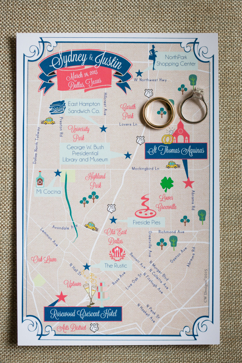 Custom Wedding Map Dallas Texas
