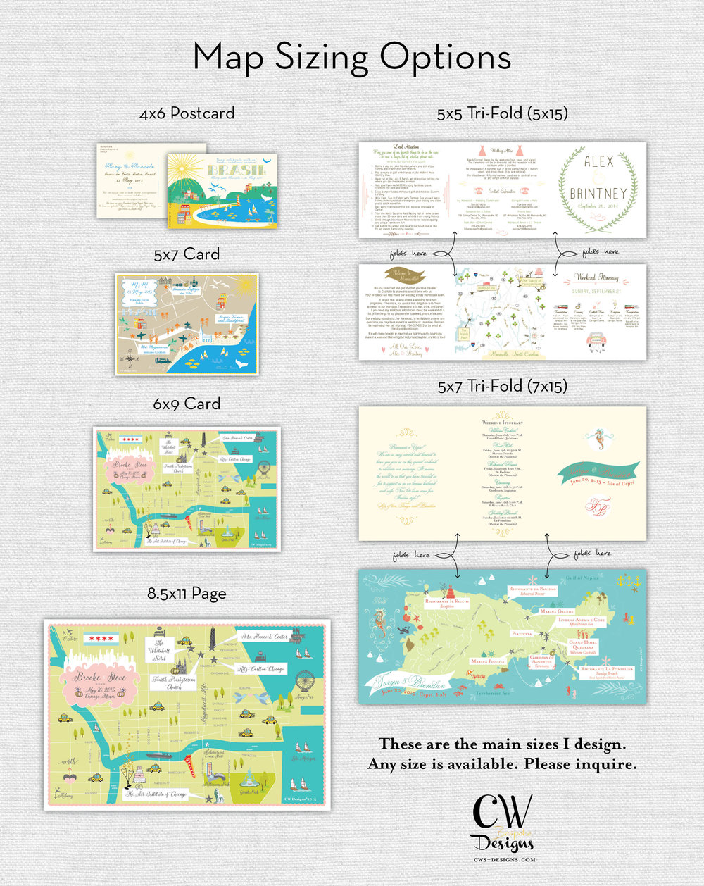 Wedding Map Sizing Options