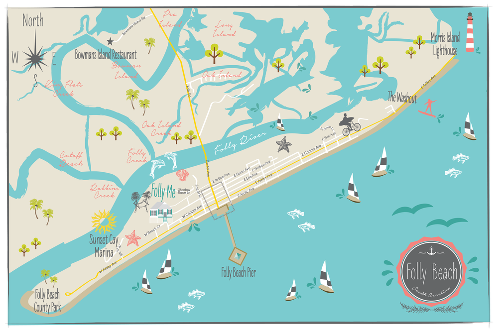 CW Designs Custom Map Folly Beach South Carolina Wedding Map.png