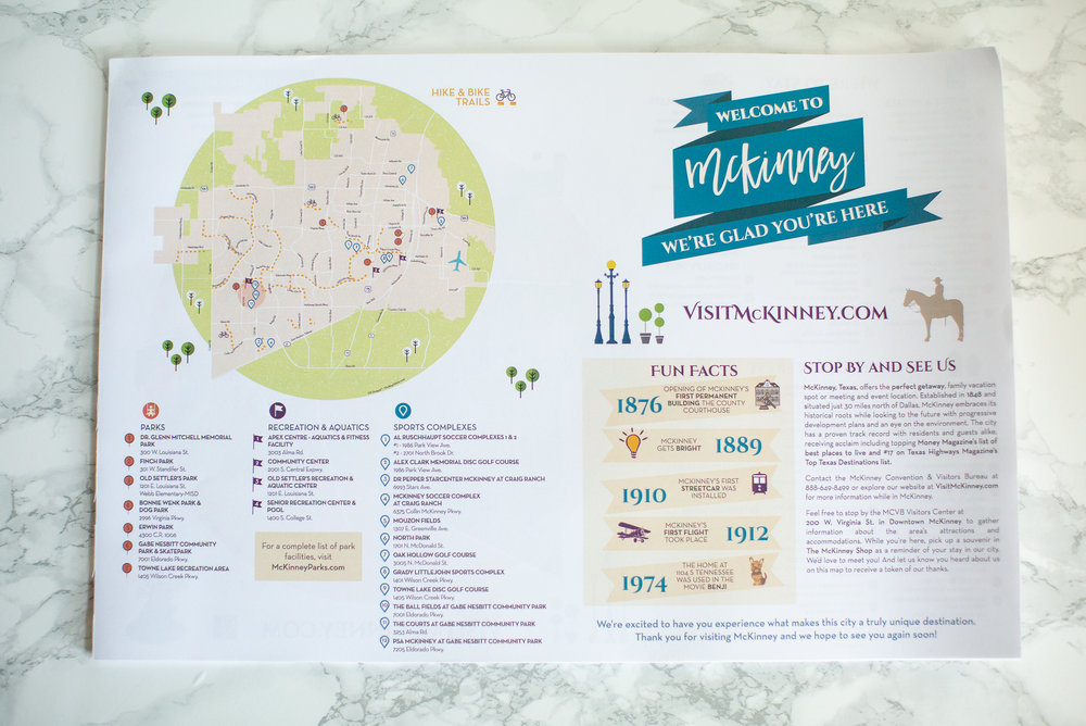 McKinney, Convention & Visitors Bureau Map (12x18 booklet)  - Featuring facts and figures as well as a useful guide for fun, entertainment, and services.