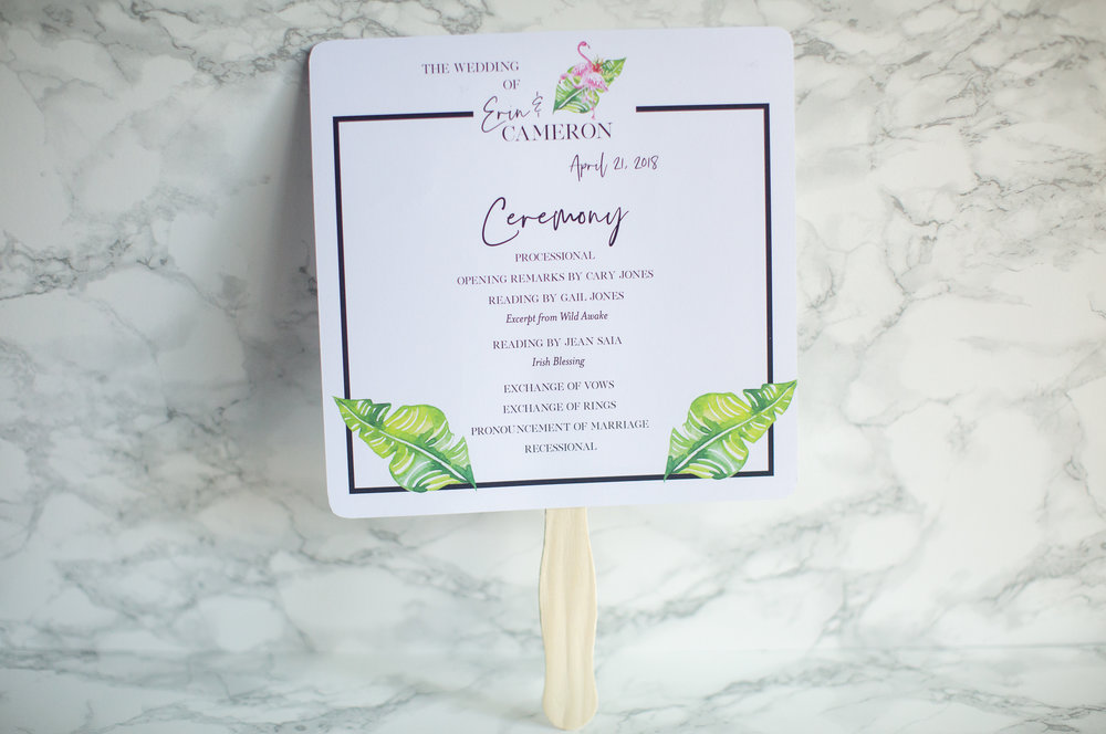 Tropical Wedding Program Fan CW Designs