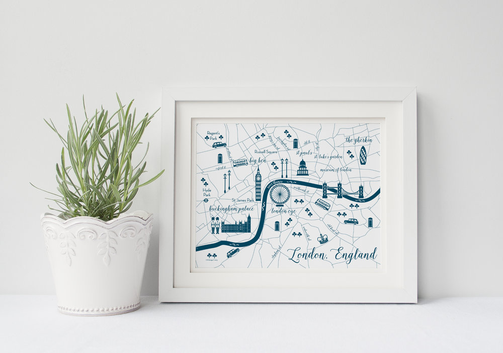 This 8x10 map of London, England in navy and white is perfect for any home or office. Make sure to print on a quality paper to ensure easy framing!
