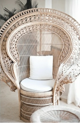 The lines of this peacock chair remind me of her lavender and nude top's embellishments.