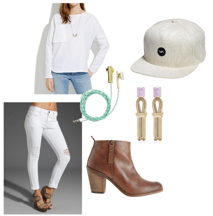 //long tee //ear buds   //hat   //earrings   //white denim   //booties