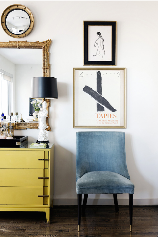 This lovely vignette has me all in a tissy- it's from  Hallie Henley Design .