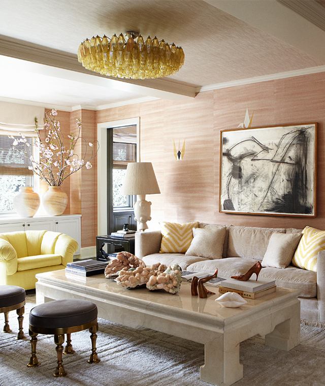 Cameron Diaz's living room is so lovely- I'd love to find another use for this electric lemon and peach combo. There are more photos to enjoy  here .