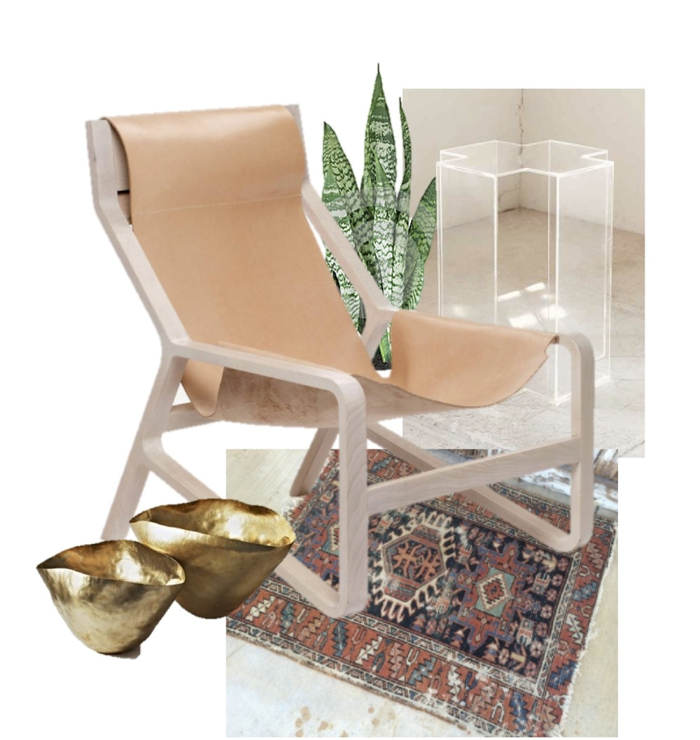 Chair  //  Rug  //  Side Table  //  brass