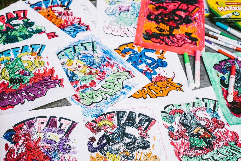 A YOUTH LED, ART INSPIRED REVOLUTION - Download and print our DEFEAT SODATRON coloring page to engage youth in spreading the message through their art.