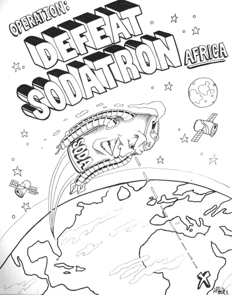 Draft version of the DEFEAT SODATRON comic cover.