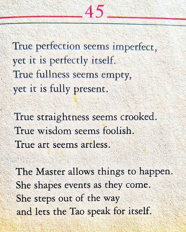 🗝️Tao Te Ching. Verse 45 📖 For the last year, this verse insisted to be fully processed and understood before moving forward. 🙏  It has taught me: #releaseshame  #selfcompassion  #honor  And to trust the #benevolentuniverse 🤩  #deepbow #tao #becomingluminouswomen ♀️