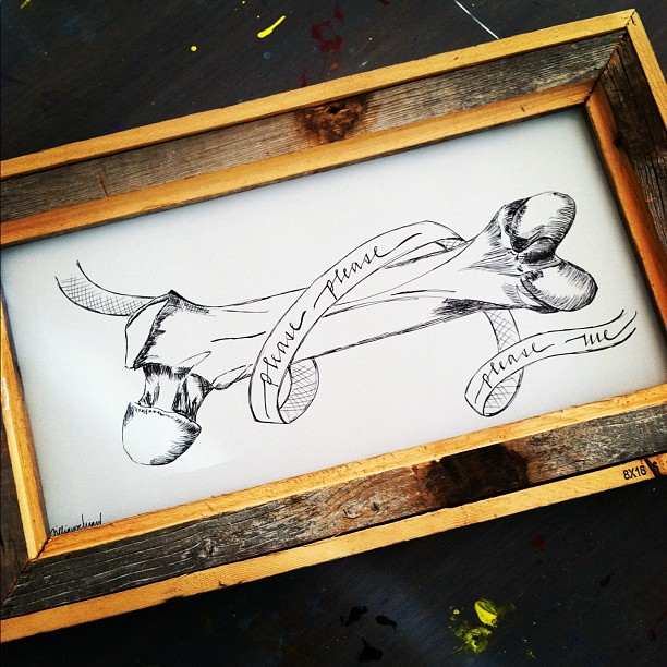 framed femur bone illustration