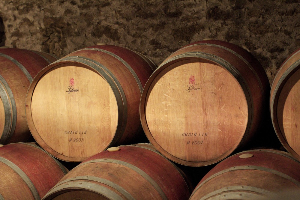 wine barrels in a french cellar