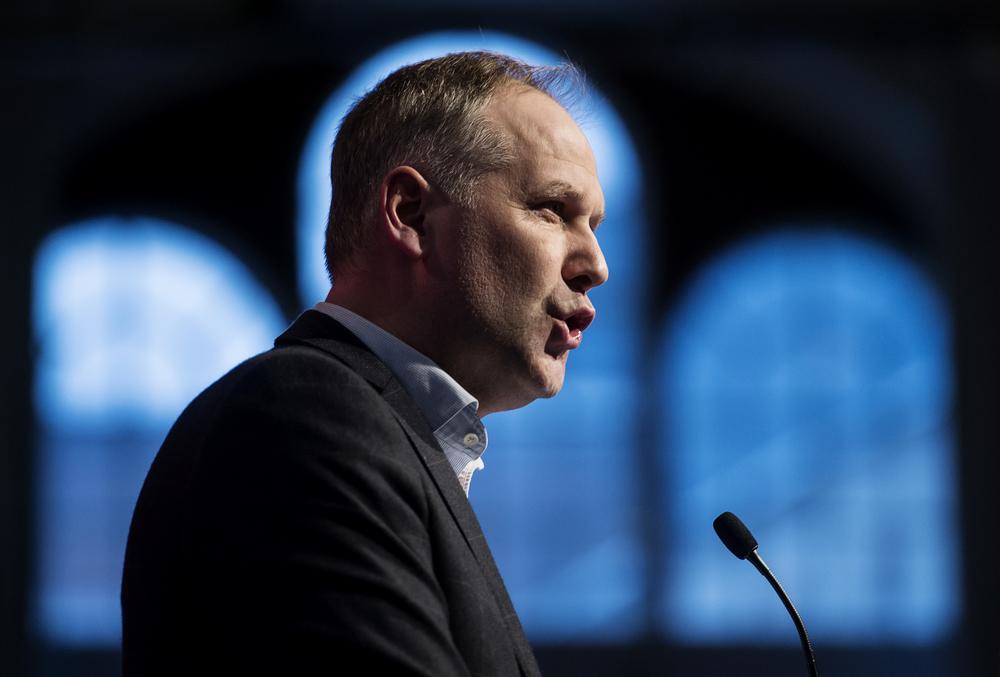 Vänsterpartiets partiledare Jonas Sjöstedt talar vid partikongressen i Stockholm. På uppdrag av Aftonbladet.
