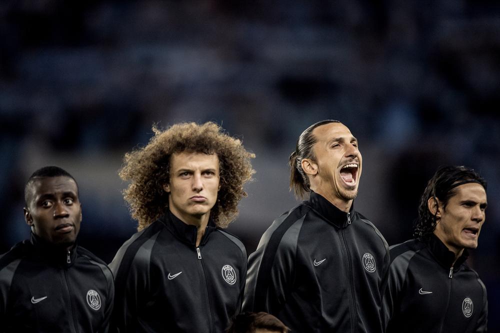 Blaise Matuidi, David Luiz, Zlatan Ibrahimovic och Edinson Cavani innan avspark mellan PSG - Malmö FF, Champions League.