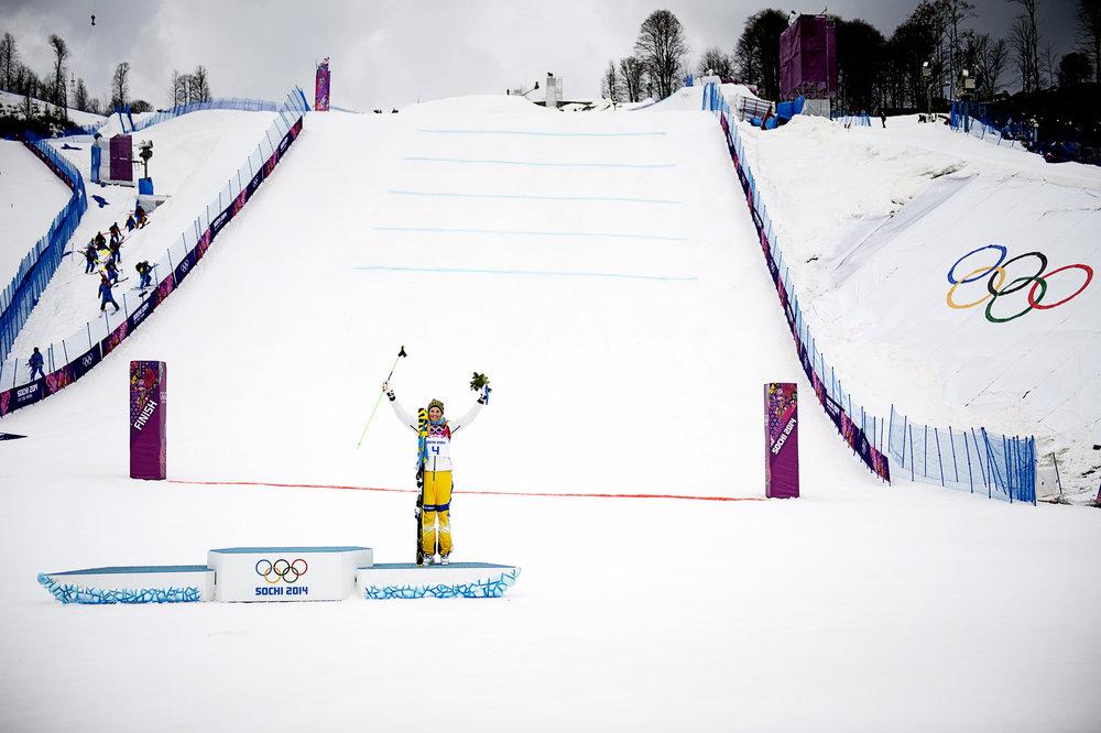 Bild från 2014 när Anna Holmlund tog OS-brons i skicross i Sotji. Foto: Pontus Orre/Aftonbladet