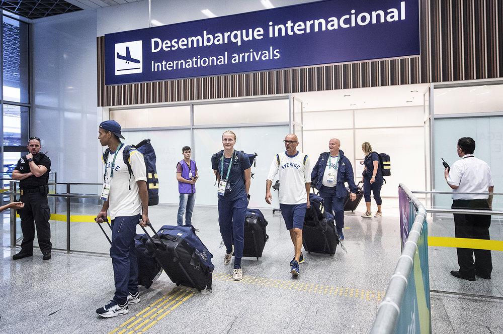 Sarah Sjöströms ankomst till Rio bevakades.