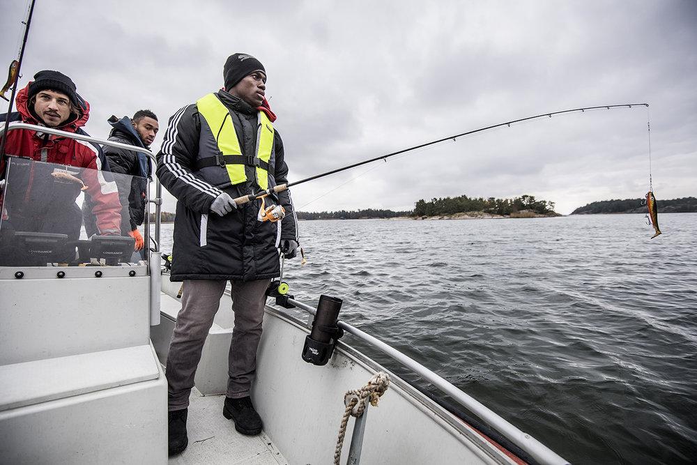 Hängde med fotbollsspelare i Mariehamn som fiskade gädda.
