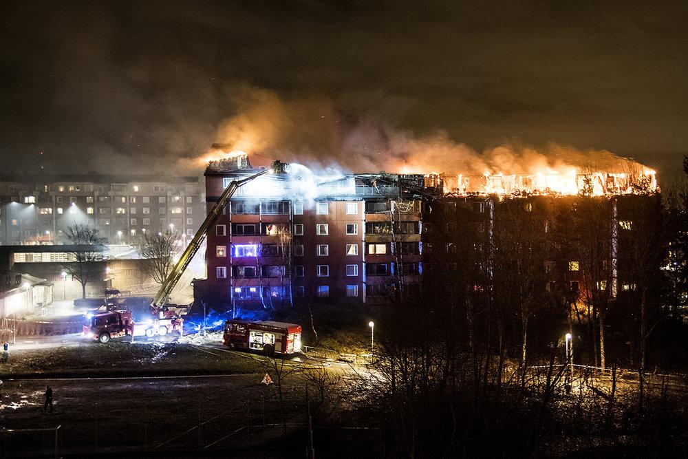 Storbrand i Husby.