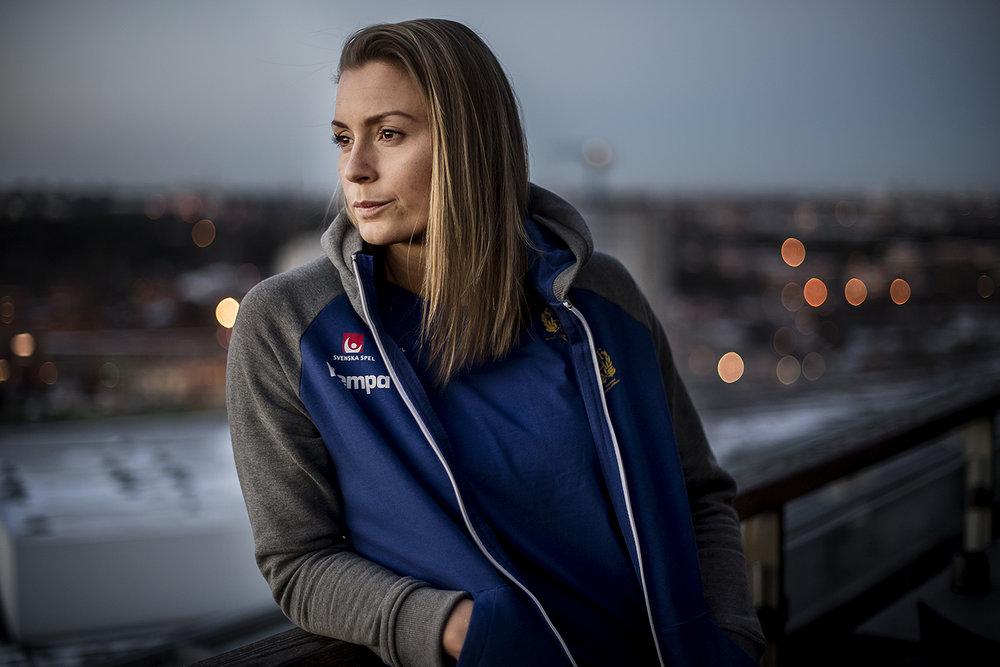Handbolls-EM i Sverige. PK med bl.a Isabelle Gulldén.