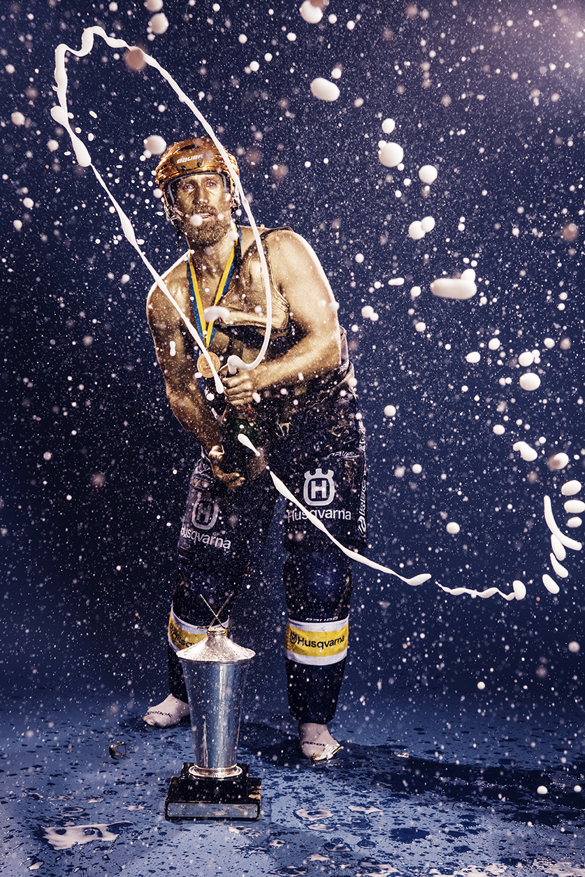 After the players of winning team has celebrate in the locker room, the tradition to paint one player in gold starts. Swedish newspaper Sportbladet has done this for many years.