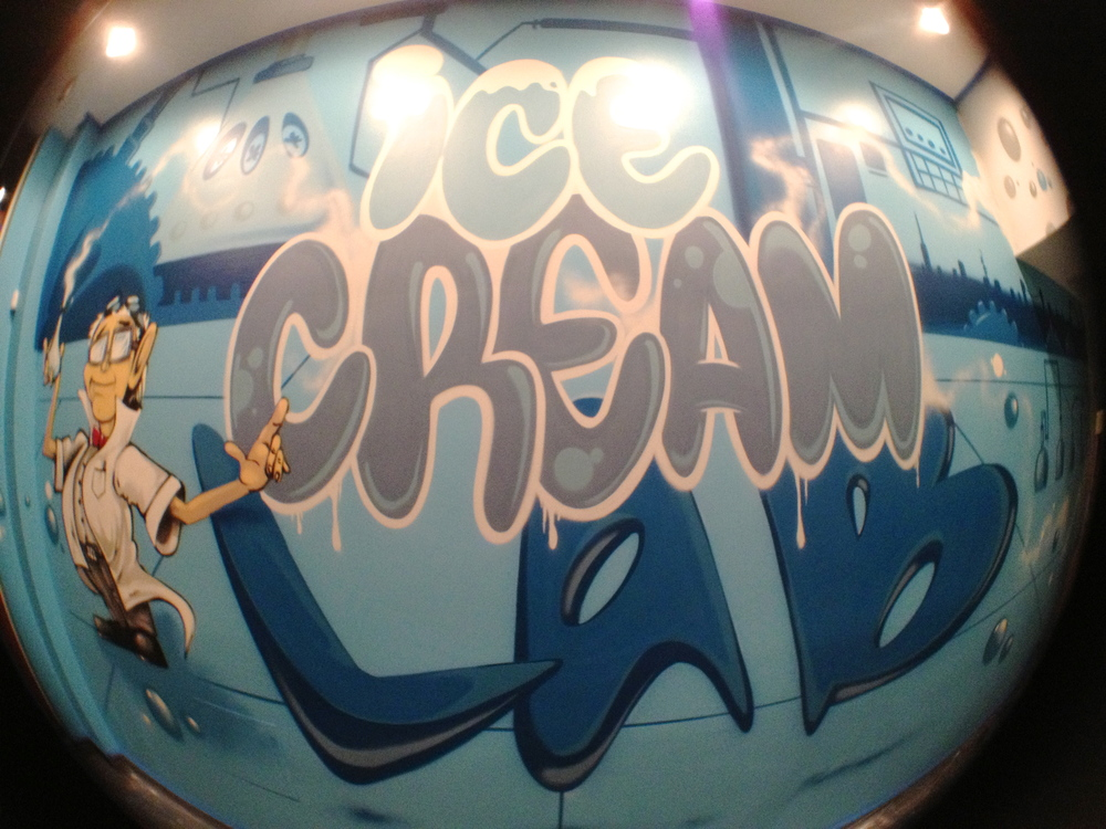 Ice Cream Lab mural and photo by Man One