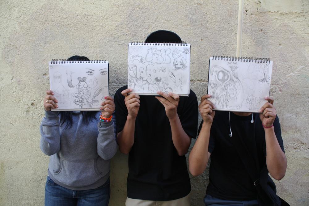 Sketch book drawings by Artworx LA participants
