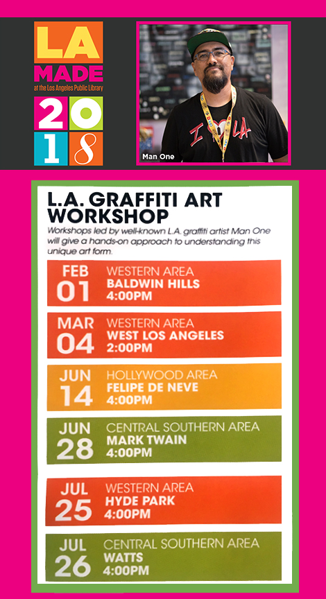 Click on image for more details about these workshops from the official LA MADE site.