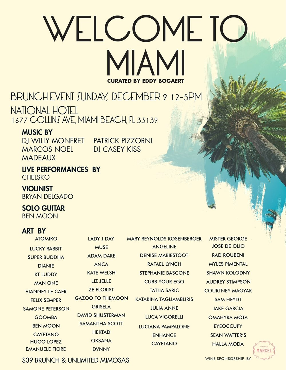 Ill Be In Miami During Art Basel This Year For A Fun Group Exhibition At The National Hotel In Miami Beach On Sunday Dec 9 From Noon 5pm