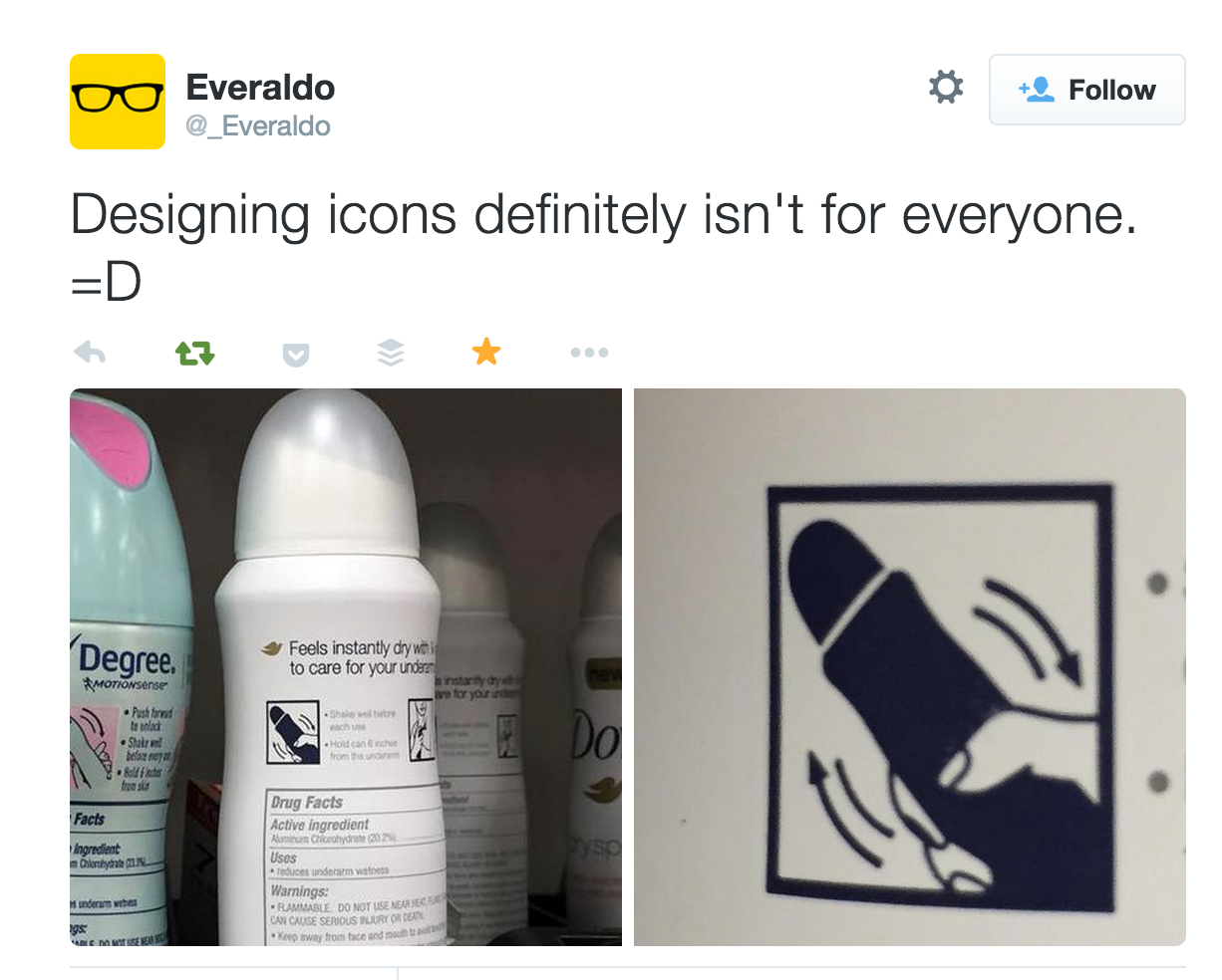 Screen shot of tweet from @Everaldo  representing design failure