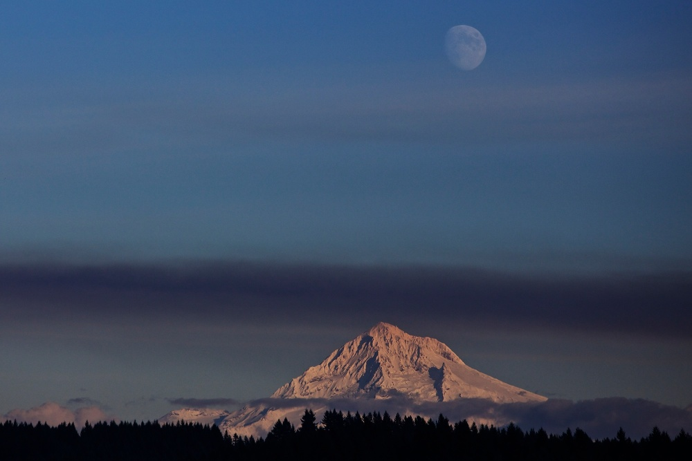 Mt. Hood, smoke, moon on Thu., Oct. 25, 2012.
