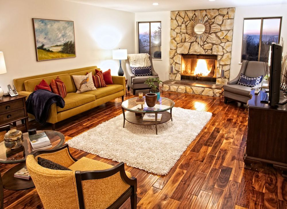 Armstrong Acacia engineered hardwood flooring installed in a mid-century home.   ©PortlandAreaRealEstatePhotos