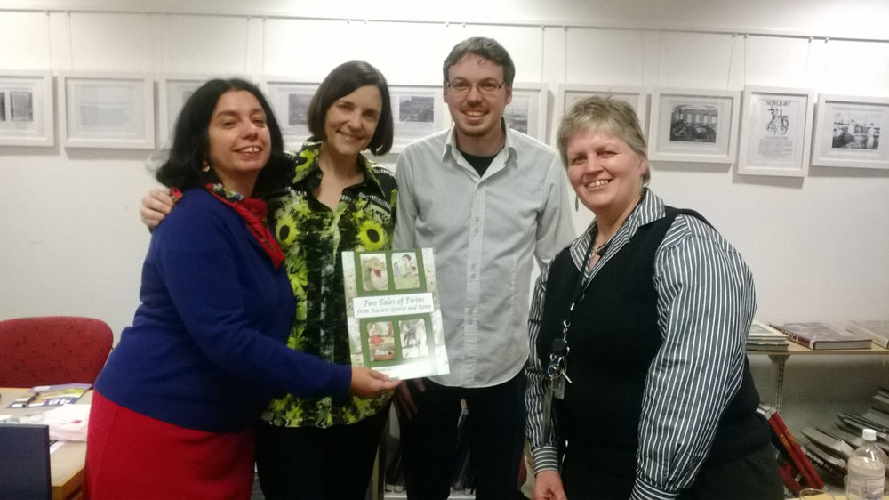 Sophie Mason, Ursula Dubosarky and David Allan with the lovely Karen Johnson who is Children's Librarian at both Leichhardt and Balmain Librariesthe at the launch of the Christmas Press title, Two Tales of Twins from Ancient Greece and Rome, by Ursula Dubosarky and David Allan.