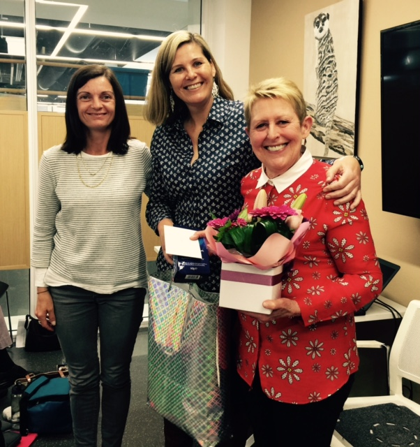Organisers Kelly Hibbert, Katrina Germein with Mem Fox