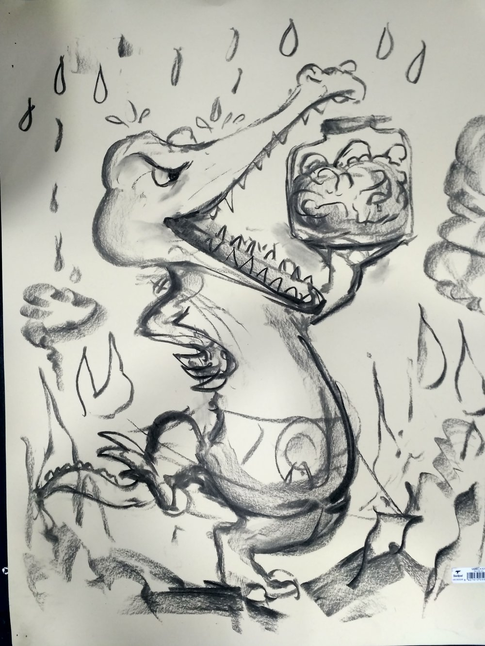 Sarah's rendition of a crocodile in a burning house being rained on while juggling a jar of brains - we think.