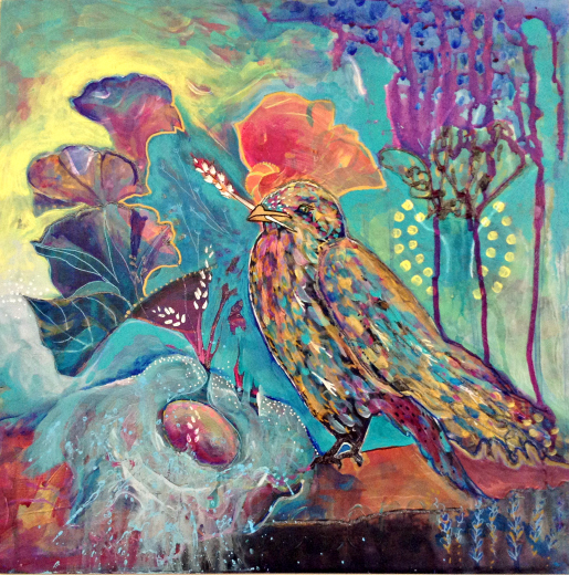 { GOLDEN BIRD } Mixed media on board. 2013. 40 x 40 cms. $650