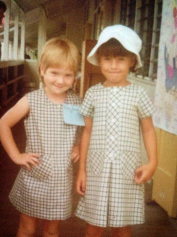 Me with my cousin Dawn on our first day at school.
