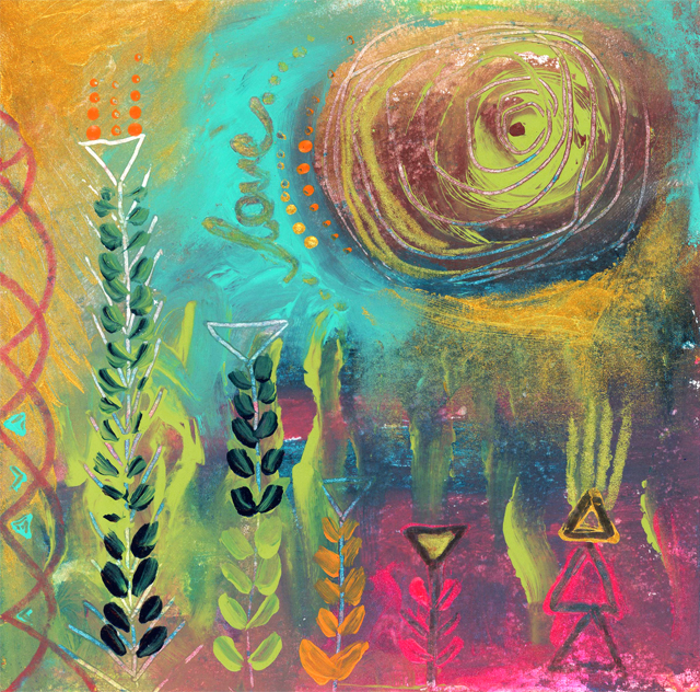 'Love Garden'. 15 cm X 15 cms