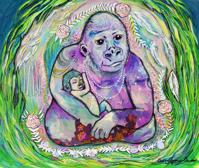 'Mama's Nurture'. Mixed media on paper. Original Artwork available  HERE