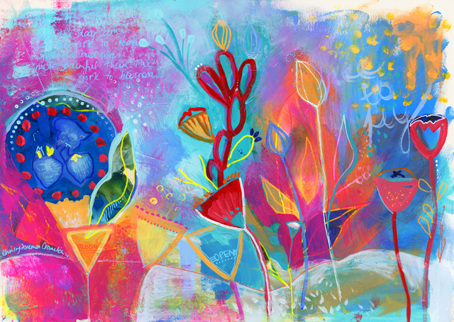 'Bloom Song'. Mixed media on paper. Original Artwork Available HERE