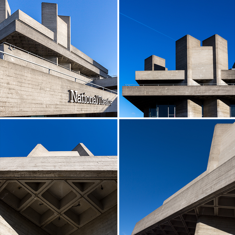 Exterior shots of The National Theatre, London. One of London's best-known and most divisive Brutalist buildings.  www.nationaltheatre.org.uk