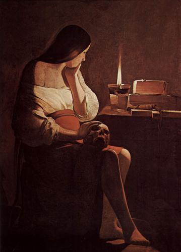 Mary Magdelene with a night light.  Georges de la Tour 1630 - 35