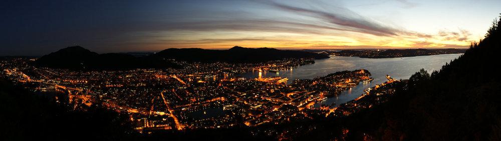 Bergen au couchant depuis Floyen