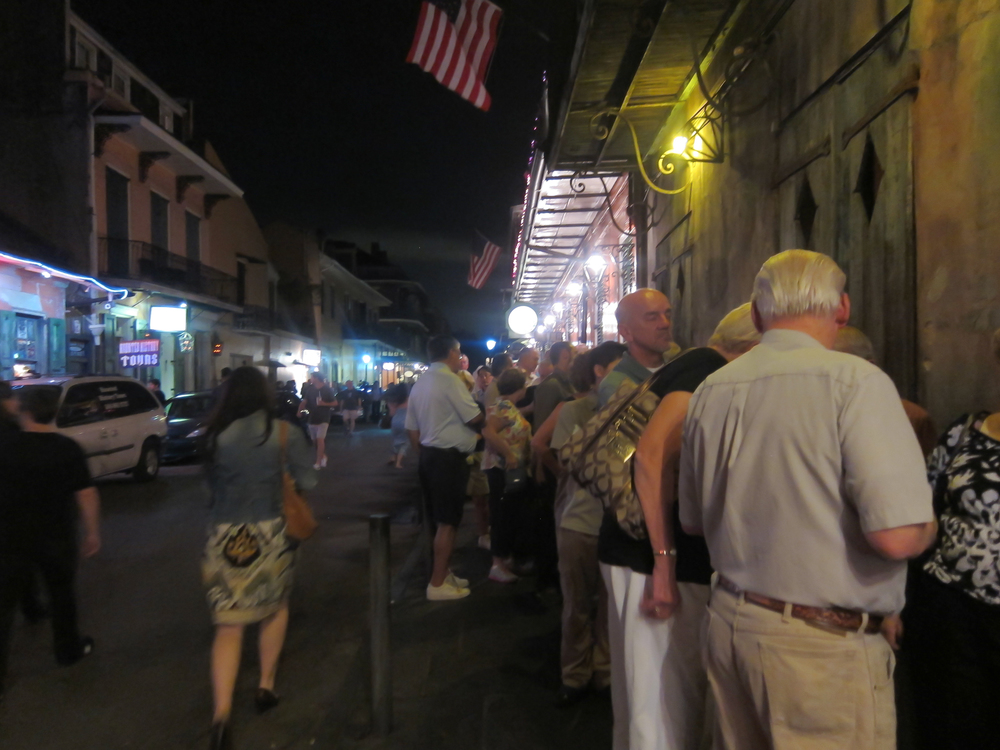 The line outside Preservation Hall is long and forms early.